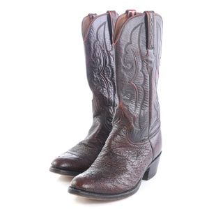 Lucchese Burgundy Leather Cowboy Western Boots Men